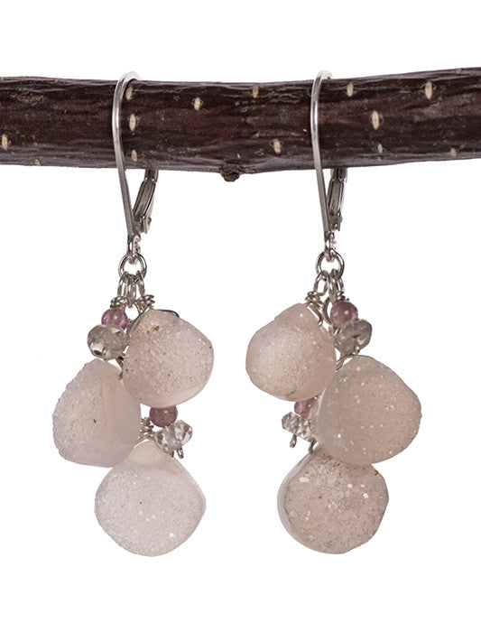 Druzy Pink Agate and Tourmaline Handmade Earrings