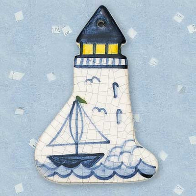 Lighthouse with Ship Ceramic Ornament