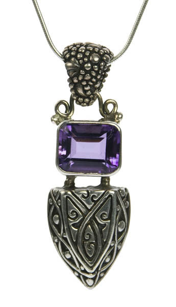 Sterling Silver Amethyst Shield Pendant