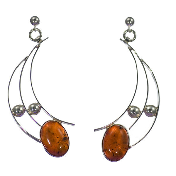 Baltic Amber Modern Art Jewelry Sterling Silver Earrings | Whisperingtree.net