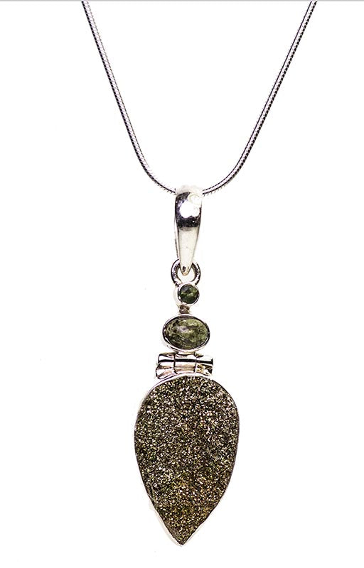 Rainbow Pyrite and Green Tourmaline Sterling Silver Pendant