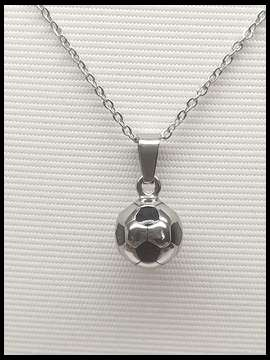 Soccer Ball Necklace - Silver Black