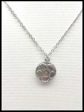 Soccer Ball Necklace - Silver