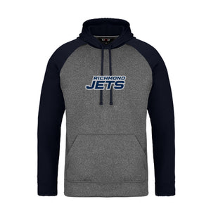 Jets 2-Tone Hoodie with Stacked Felt Logo - Adult