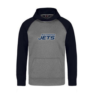 Jets 2-Tone Hoodie with Stacked Felt Logo - Youth