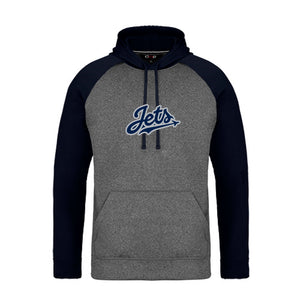 Jets 2-Tone Hoodie with Vintage Felt Logo - Adult