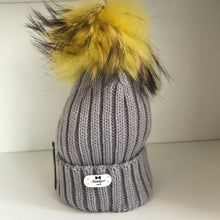 Bowtique Grey/Yellow Bobble Hat