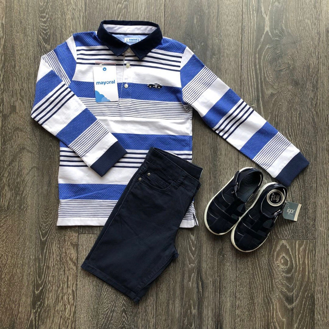 Mayoral L/S Polo Blue Stripe