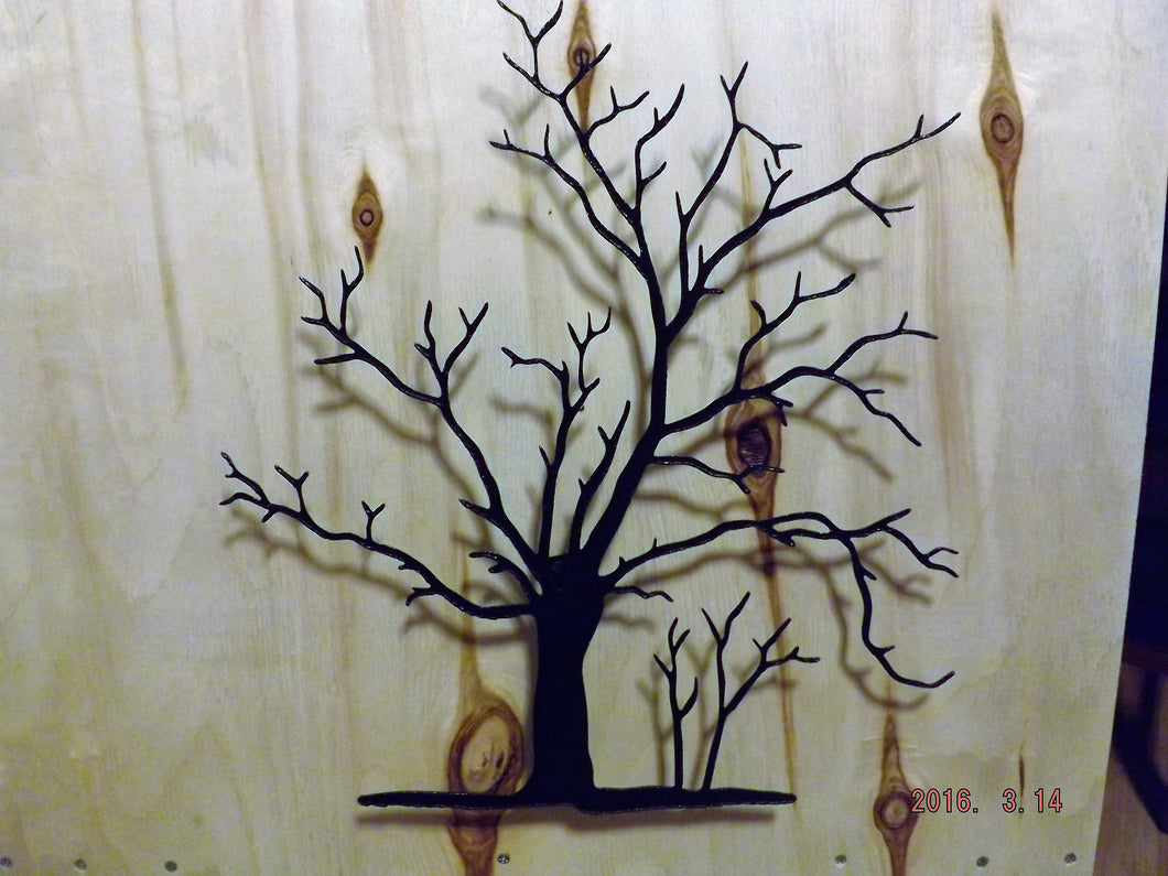 Beautiful Lodge Handmade Black Metal Wall Art, 3D Fall Maple Trees