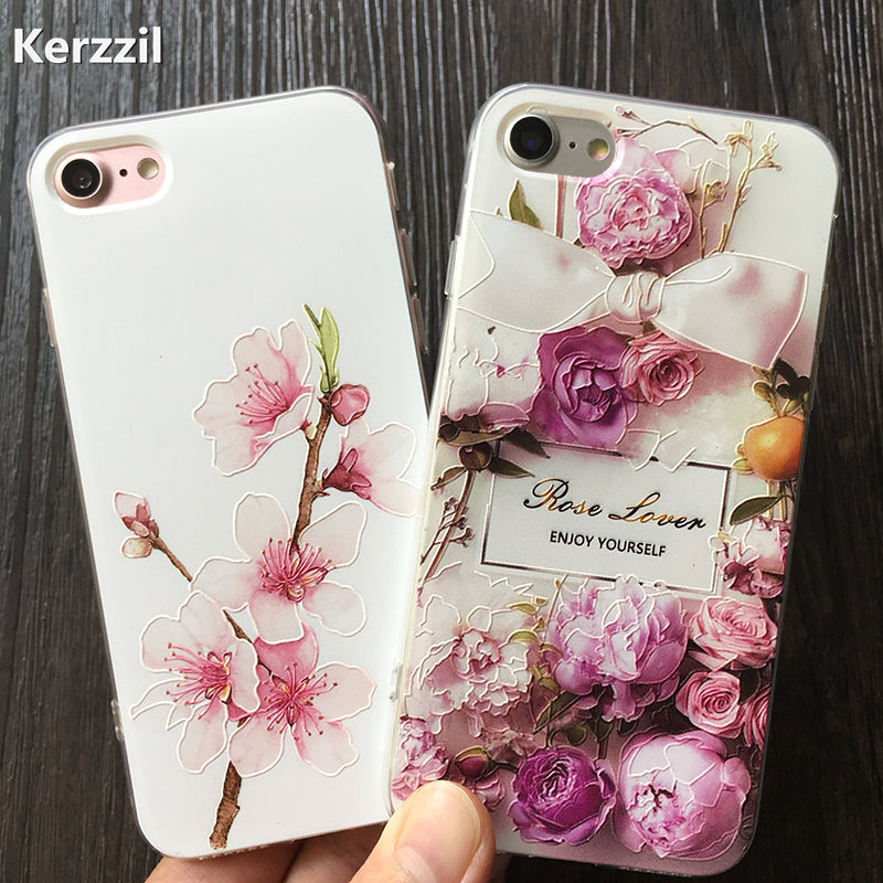 new concept 82696 14cd9 Kerzzil Plum blossom 3D Relief Roses Flower Phone Case For iPhone 7 6 6s  Plus Soft TPU Back Cover For iPhone 6 6s Cover