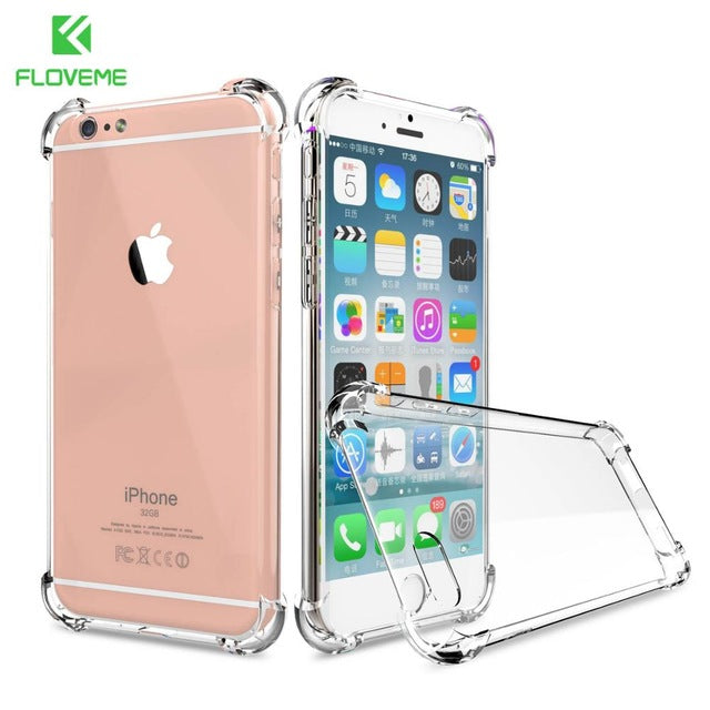 innovative design d4299 40a60 FLOVEME Phone Cases For iPhone 7 6s 6 Plus Clear Soft TPU Slim Shockproof  Transparent Phone Cover For iPhone 6 6s 7 X Case Coque
