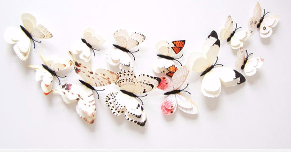 3D Butterflies For Your Wedding! -  WHITE / IVORY Collection | Double Wings | FREE SHIPPING!