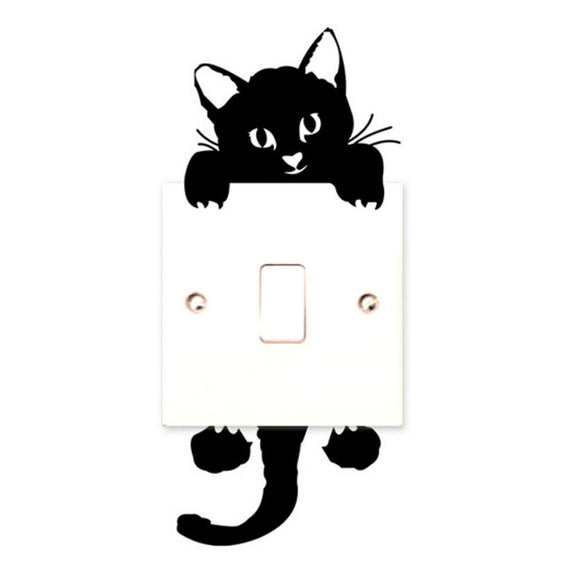 Cute Black Cat Light Switch Decal