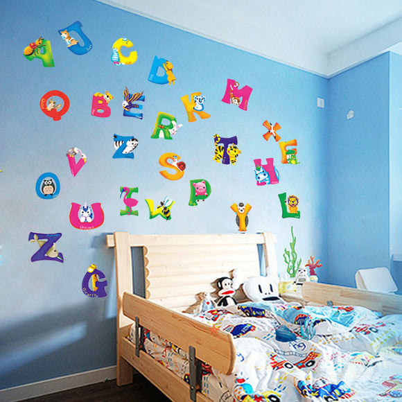A-Z Alphabet & Animals Wall Decals For Your Nursery or Child's Room | A-Z Pack 26 pcs