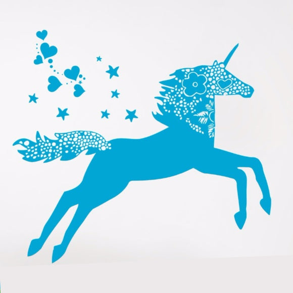 Unicorn Wall Decal - Beautiful With Hearts and Stars!