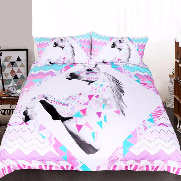 Bedding: Modern UNICORN and GEOMETRIC DESIGN  DUVET COVER and Coordinating PILLOW COVERS | 3 Pcs