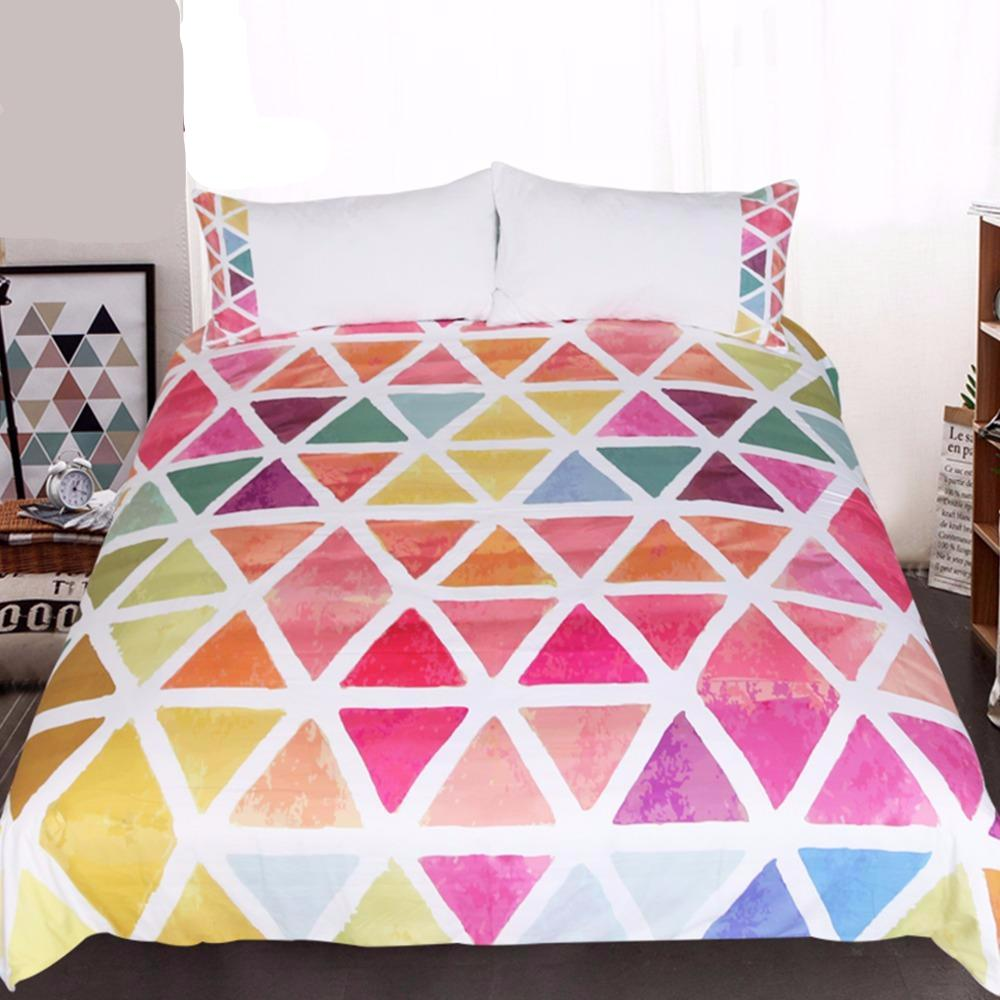 Bedding colorful watercolors geometric design duvet cover and coordinating pillow covers 3pcs