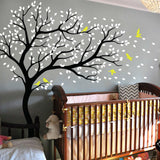 Large Tree Wall Decal with Birds, Delicate Leaves And Branches Blowing In The Wind | 3 Sizes
