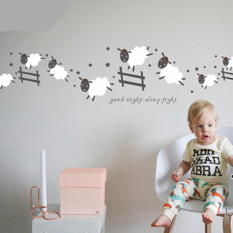 Counting sheep cute wall decal for nursery or childs room feature photo