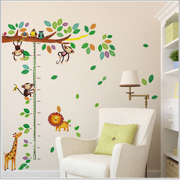Growth Chart With Cartoon Monkeys Giraffe Birds Tree For Childs Room or Nursery