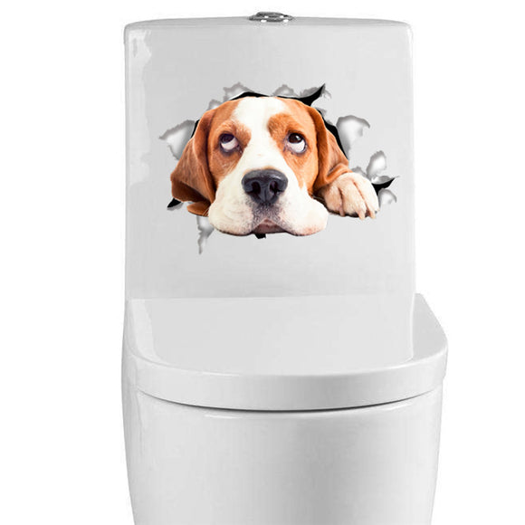 Whimsical Cat and Dog Decals - Breaking Out | Toilet, Refrigerator