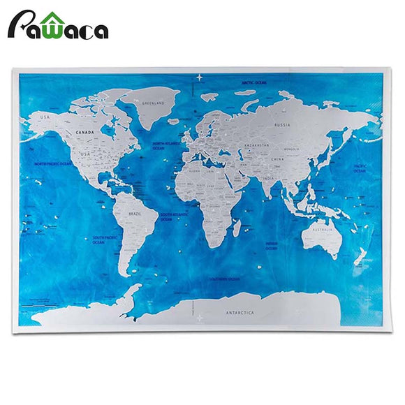 !!NEW!! Deluxe WORLD MAP Scratch Edition | Blue Ocean or Black & Gold | With Flags