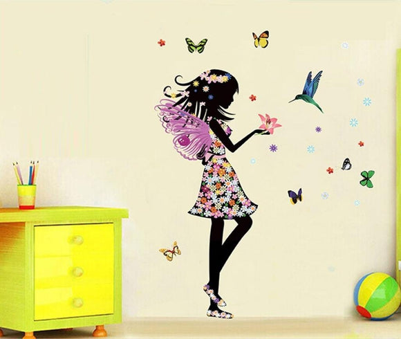 NEW Magical Fairy Decals - Beautiful Girl With Hummingbird & Butterflies