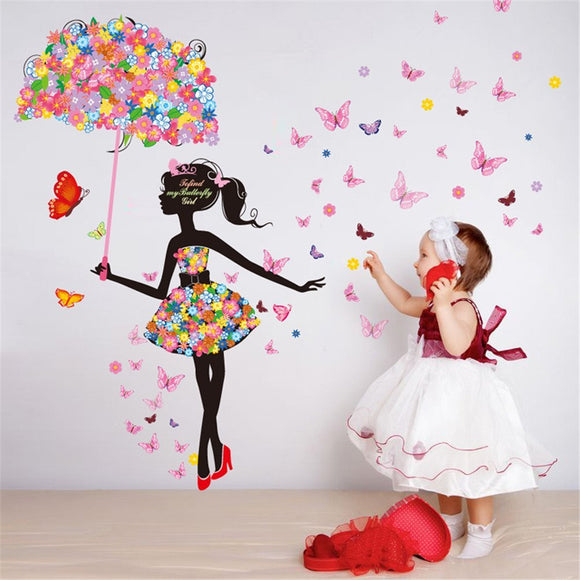 NEW Magical Fairy Decals - Beautiful Girl with Umbrella and Butterflies