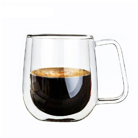Double Glass Mug | 8 oz | Hot or Cold | BEST DEAL Set of 4