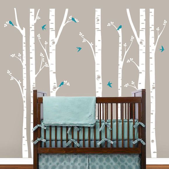 Huge Birch Tree Wall Decal with Birds (3 Trees or 7 Trees)