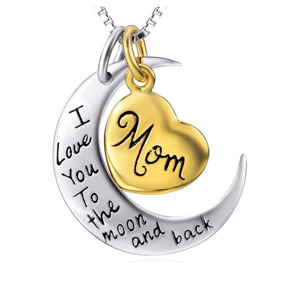 I Love You To the Moon and Back Silver Necklace |  Mom Dad Daughter Son Grandma Grandpa |