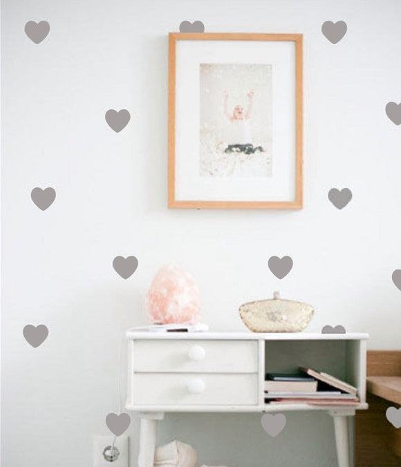 Little Hearts Wall Decals, Removable (Pkg of 40) - Free Shipping