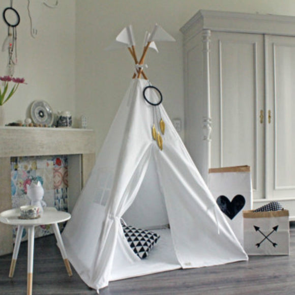 Teepee Tent For Childs Room - Canvas White
