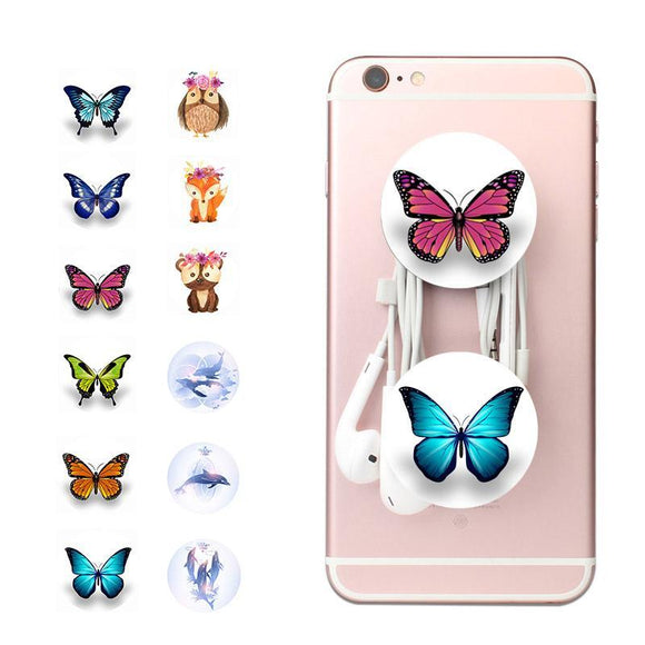 Pop Up Phone Holder, Grip and Stand | For Smartphones | Cute Butterfly & Cartoon Designs