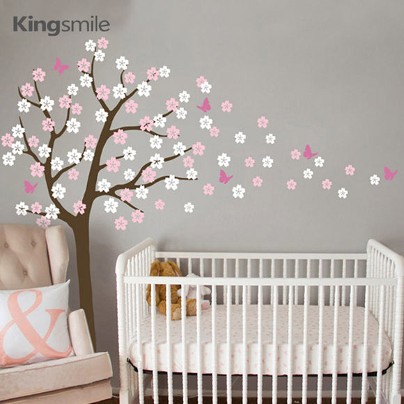 Tree With Cherry Blossoms and Butterflies | Removable Wall Decal
