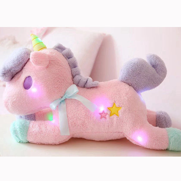 Nursery Stuffed Unicorn Plush Toy - Soft Flashing LED Light - 21.5