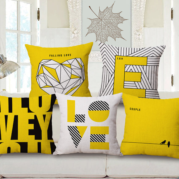 Handmade Yellow LOVE Pillow Covers (18