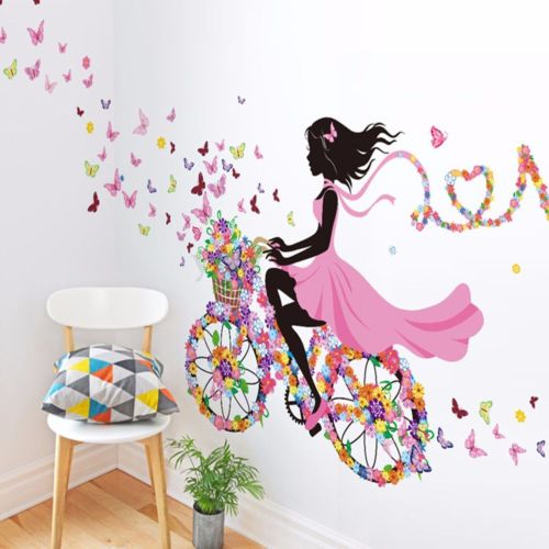 NEW Magical Fairy Decals - Fairy on Bicycle With Butterflies