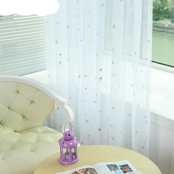 Sheer Curtains With Star Pattern | WHITE | Choose Hanging Process | 10 Panel Sizes