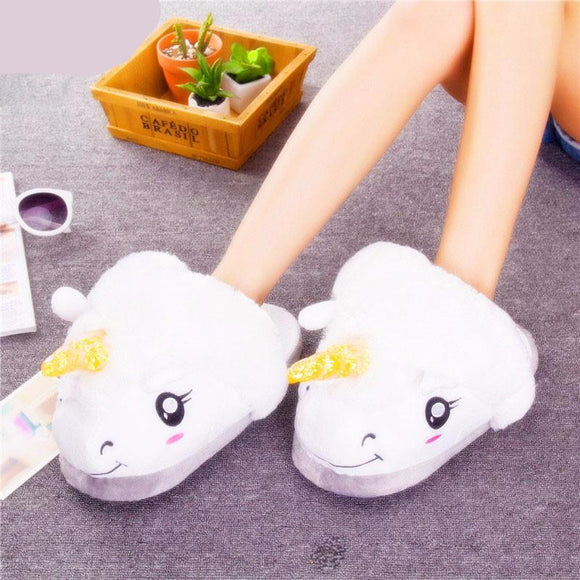 Unicorn Slippers Plush With Open Back | One Size (Fits L 8 - 10)