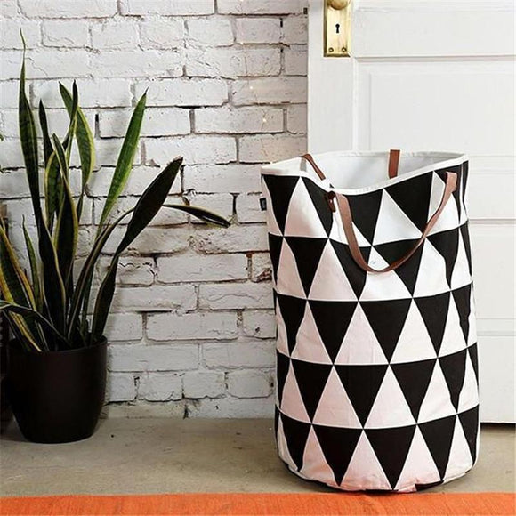 Black & White Canvas Laundry Basket With Rubberized Interior | Leather Handles
