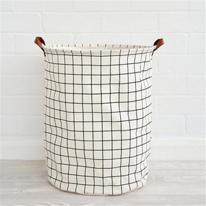 "BLACK & WHITE: Canvas Laundry Basket With Rubberized Interior | Leather Handles | 16"" x 20"""