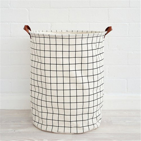 BLACK & WHITE: Canvas Laundry Basket With Rubberized Interior | Leather Handles | 16