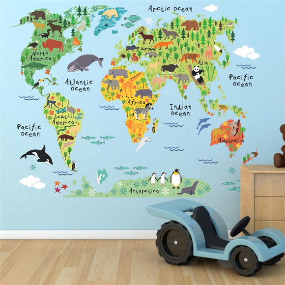 Cartoon Animals World Map Wall Decals | Great Mural For Kids Rooms
