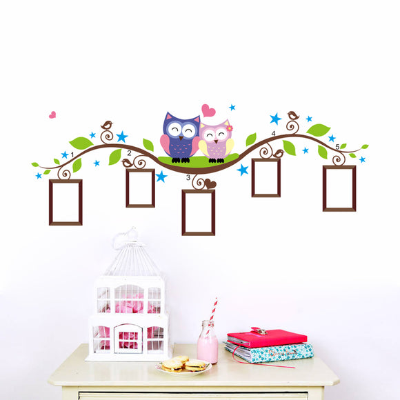 Owls & Birds and Tree Branches - Colorful Nursery Wall Decals - Free Shipping