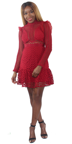 Nikki Red Lace Dress, Dress, - Virago Boutique