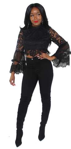 Black Romance Top, , - Virago Boutique