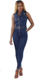 Denim Moto Jumpsuit, , - Virago Boutique