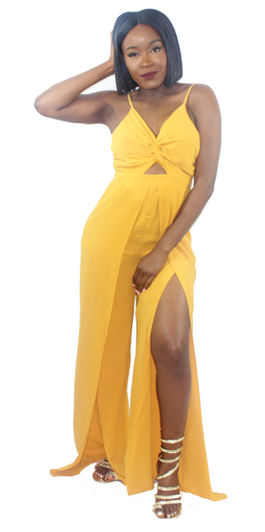 San Tropez Yellow Jumpsuit, , - Virago Boutique