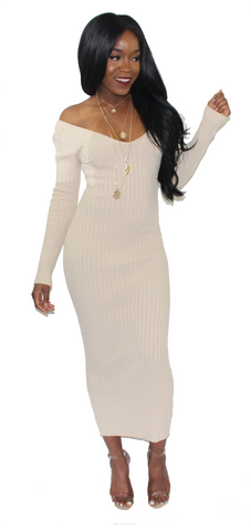 Coffee & Cream Midi Dress, Dress, - Virago Boutique